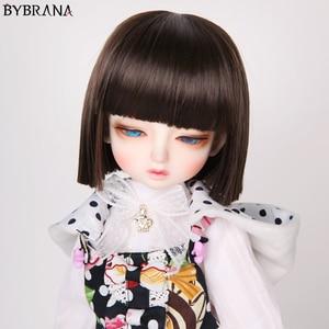 Парик Bybrana BJD 1/3 1/4 1/6 1/8, короткие прямые каштановые волосы, высокотемпературное волокно для кукол