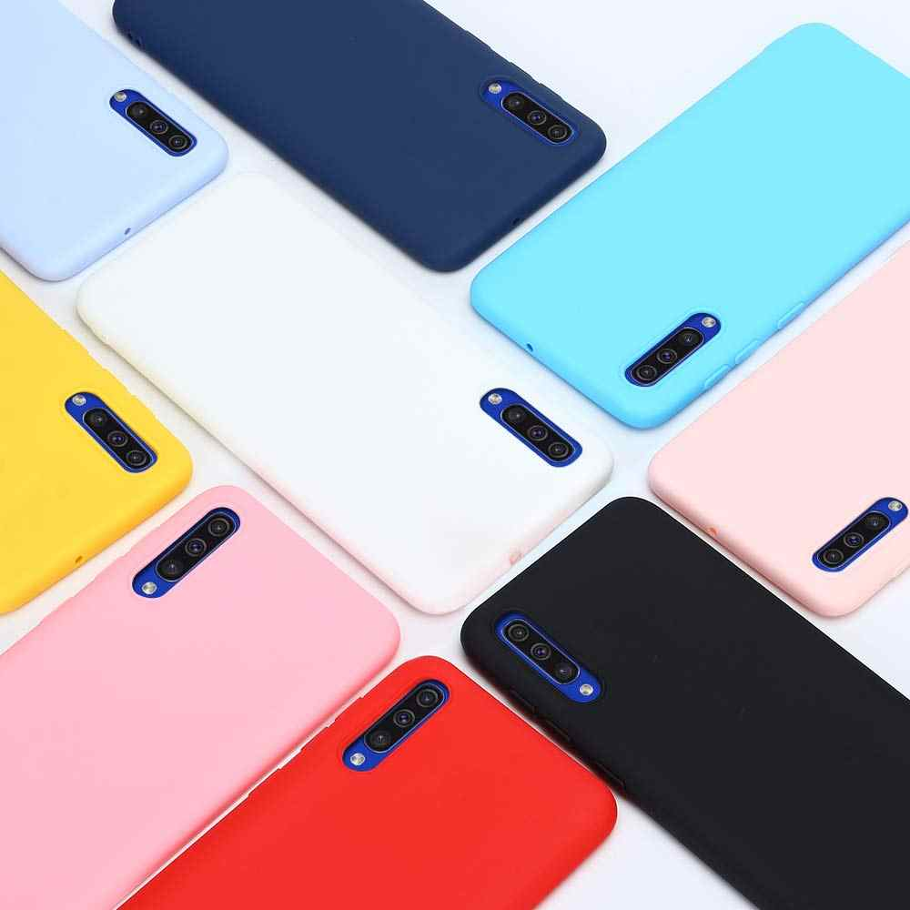 Silikon samsung kılıfı Galaxy A50 A30 A40 A10 A20 A70 Katı Şeker A20e M20 A7 2018 Not 10 S8 S9 S10 artı S10e 5G Durumlarda Kapak