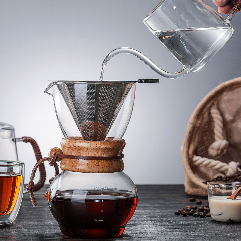 500ml Coffee Percolators Glass Pour Over Coffee Maker Lead-free Hand Drip Hario V60 Serving Pot Barista Expressed Coffe Dripper