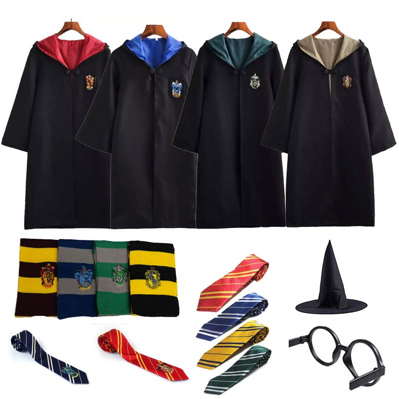 Costume Potter Clothes Robe Cloak With Tie Scarf Wand Glasses Ravenclaw Gryffindor Hufflepuff Slytherin Potter Cosplay Party