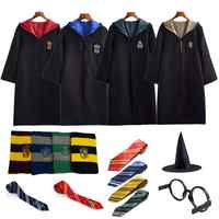 Costume Potter Vestiti Robe Mantello con Cravatta Sciarpa Bacchetta Occhiali Corvonero Grifondoro Tassorosso Serpeverde Potter Cosplay Del Partito
