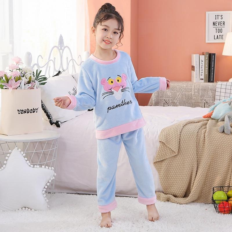 Зимние рождественские пижамы для детей; фланелевые пижамы для детей; толстый теплый милый комплект одежды для сна с длинными рукавами для д