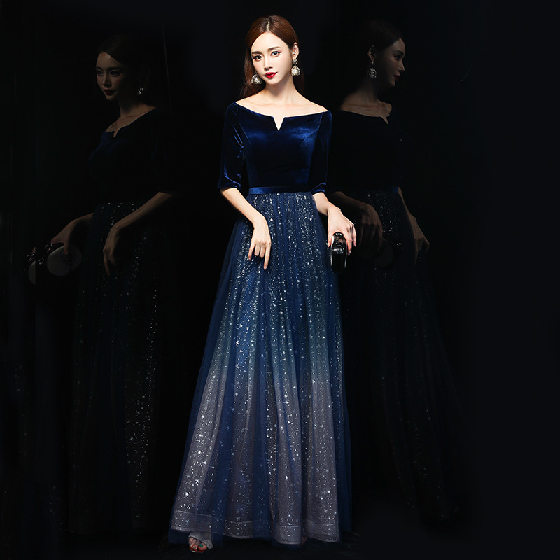 Full Length Chinese Sexy Off Shoulder Oriental Party Female Cheongsam Stage Show Qipao Dress Elegant Celebrity Banquet Dresses