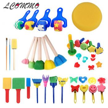 30 sztuk dzieci gąbkowa pieczątka gąbka pędzle malarskie narzędzia do rysowania dla dzieci wczesny obraz sztuka rzemiosło sztuka DIY Graffiti dostaw tanie i dobre opinie LCOMMO CN (pochodzenie) Art Sets