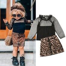 От 1 до 6 лет, модная одежда с леопардовым принтом для маленьких девочек, кружевные топы с оборками, футболка, юбка, спортивный костюм