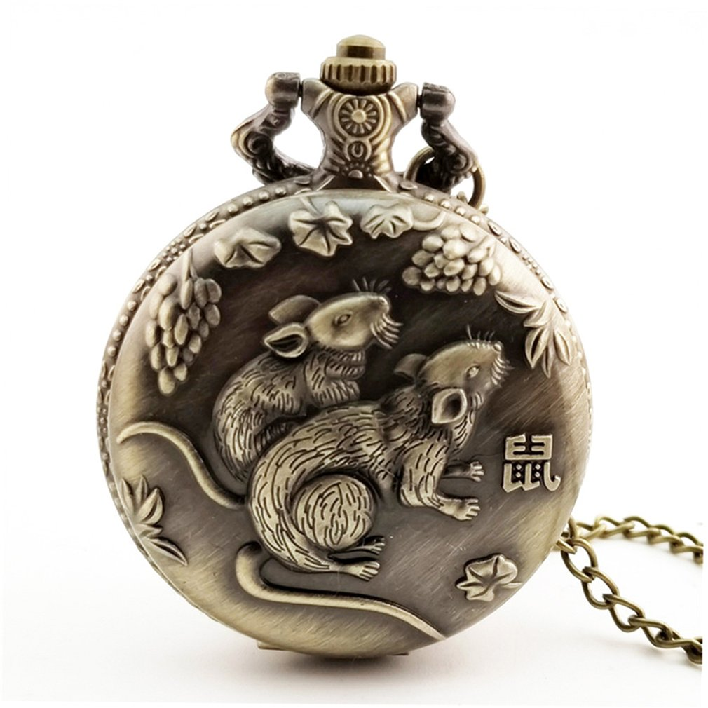 C2020 Rat Year Hinese Zodiac Quartz Pocket Watch Necklace Pendant Clock For Mens Women's Best Gifts Orologio Uomo Hot Selling