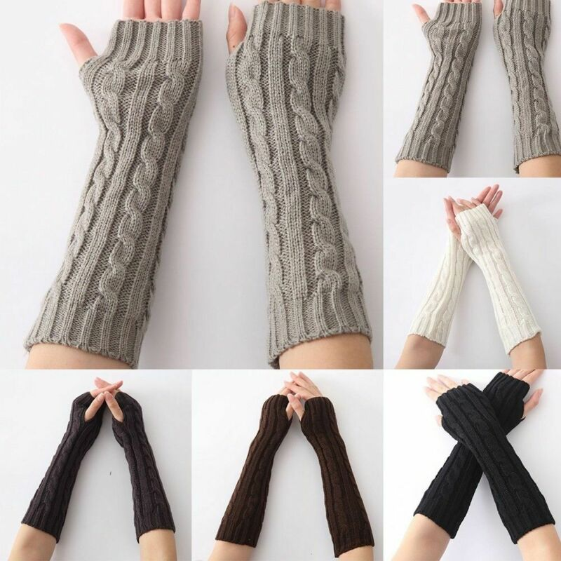 Women Winter Wrist Arm Knitted Long Fingerless Gloves Mittens Hand Warmer New