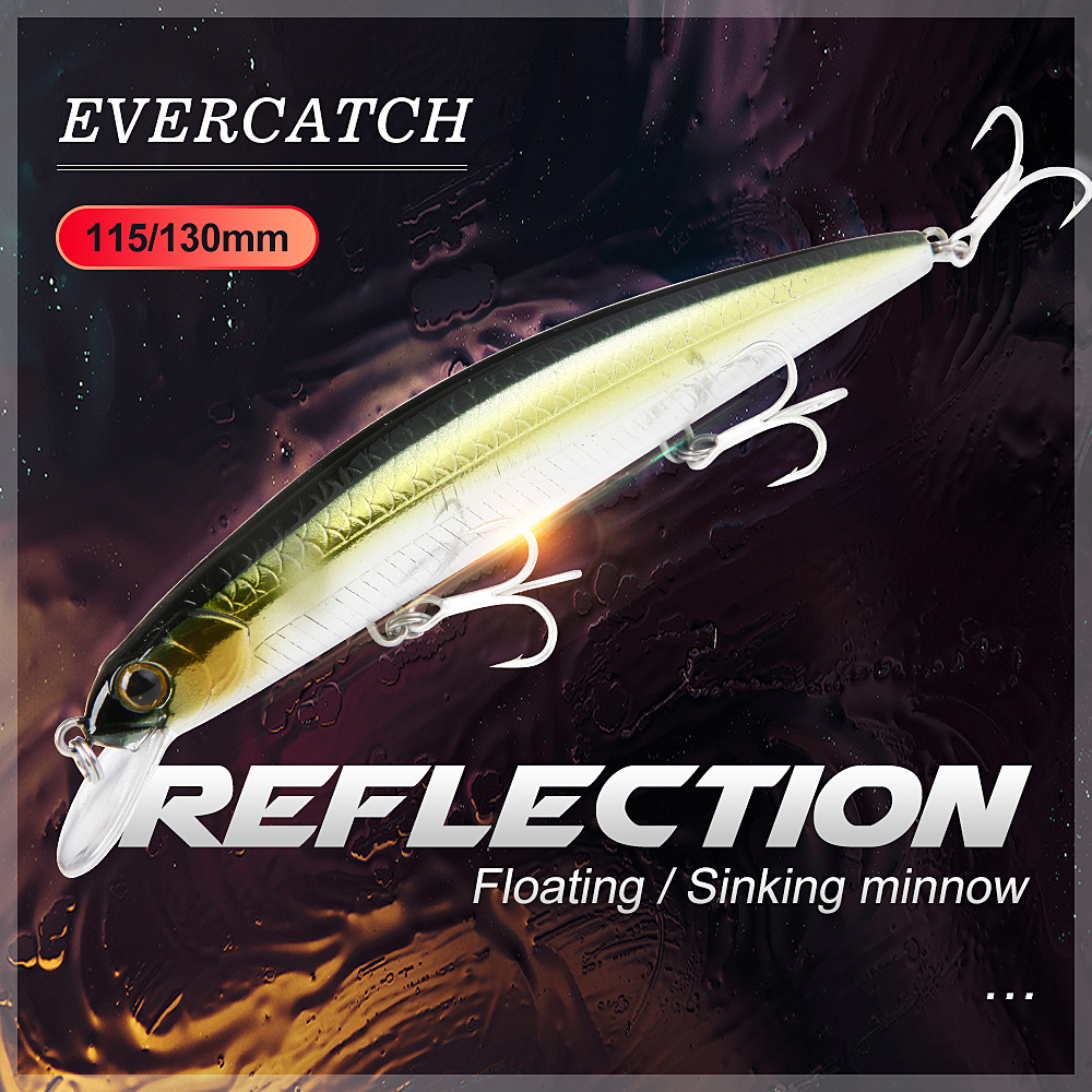 Evercatch Reflection 16.5g Floating Wobblers Fishing Lure Topwater Minnow 21.5g Sinking Rattling Jerkbait Hard Baits Bass Pike