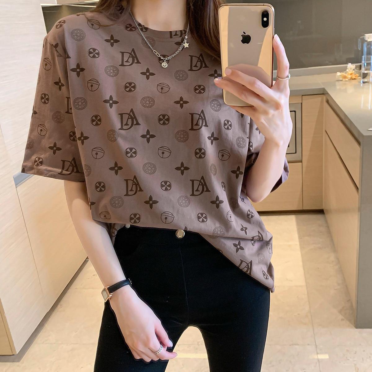 26 estilos de oversize popular gráficos t camisa feminina algodão verão nova streetwear oversized casual solto tshirt moda femal topos
