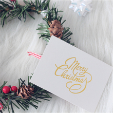 40PCS White Foil Merry Christmas Cards For Invitation Decorations Home Candy Gift Boxes Single-page Type
