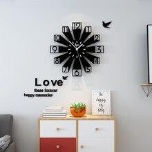 3D Creative Design Round Wall Clock Modern Silent Large Quartz Hanging Lliving Room Decoration Watch