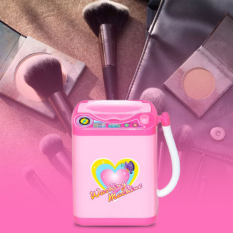 Mini Washing Machine Electric Makeup Brush Cleaning Washer Pink 360 Rotation Automatic Beauty Makeup Tools Cleaner Kids Toys image