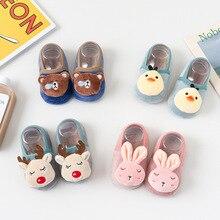 Floor Socks Baby Socks Autumn and Winter Plus Velvet Children Toddler Socks Cartoon Anti-slip Socks Indoor Shoes