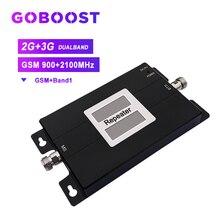 Repetidor de señal de teléfono móvil banda dual gsm 900mhz celular de 2g 3g Red band1 2100mhz wcdma teléfono móvil amplificador