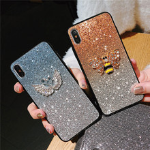 For Samsung Galaxy S8 S9 S10 S7 Plus Luxury Rose Diamond Case Note9 8 A6 A7 A8 A9 + Shining Flamingo Bee Phone