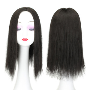 Image 3 - Women Hair Topper Piece Synthetic Hair 3 Clips In one piece Hair Extension long straight High Temperature Fiber