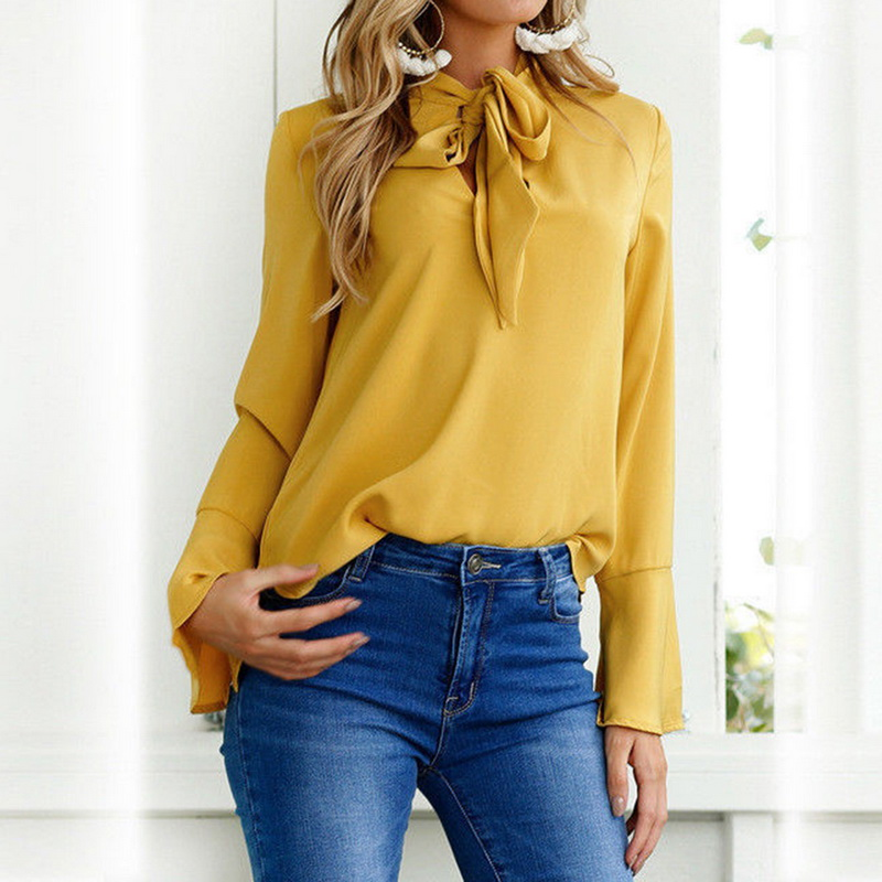Ladies Elegant Lace Up Blouses Loose Slim Fit Casual Shirt 2019 New Women Fashion Autumn Flare Sleeves Solid Color Chiffon Shirt