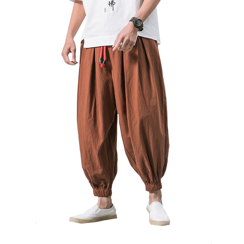 Men Linen Harem Pants 2019 Jogger Pants Man Cotton Loose Trousers Spring Summer Male Chinese Traditional Harajuku Big Size 5XL