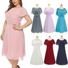 Плюс размер платье для матери невесты короткая длина до колена шифон большие размеры женское элегантное платье летнее платье доступно