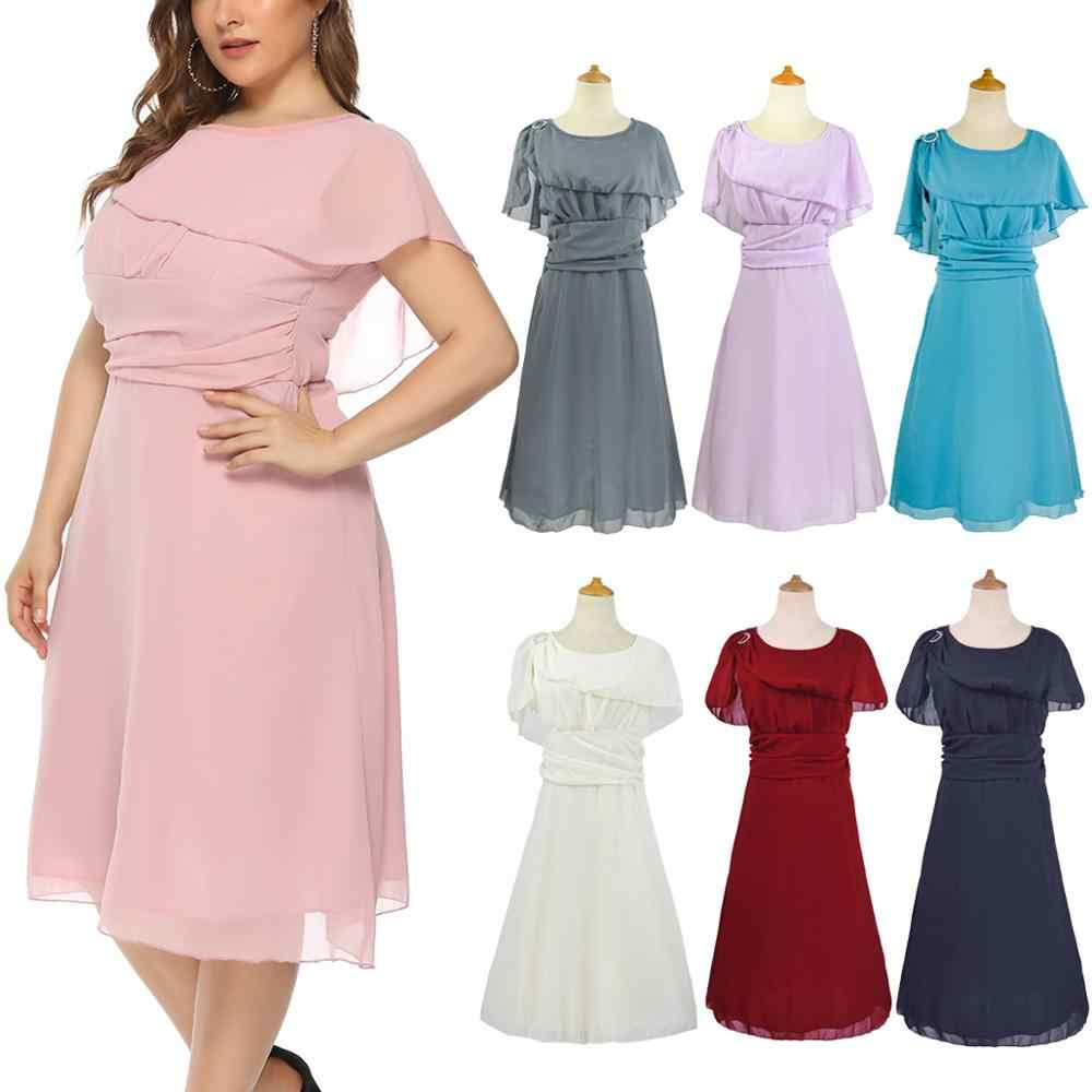 Plus Size Mother Of The Bride Dress Short Knee Length Chiffon Big Size  Women Lady Gown Summer Dress In Stock