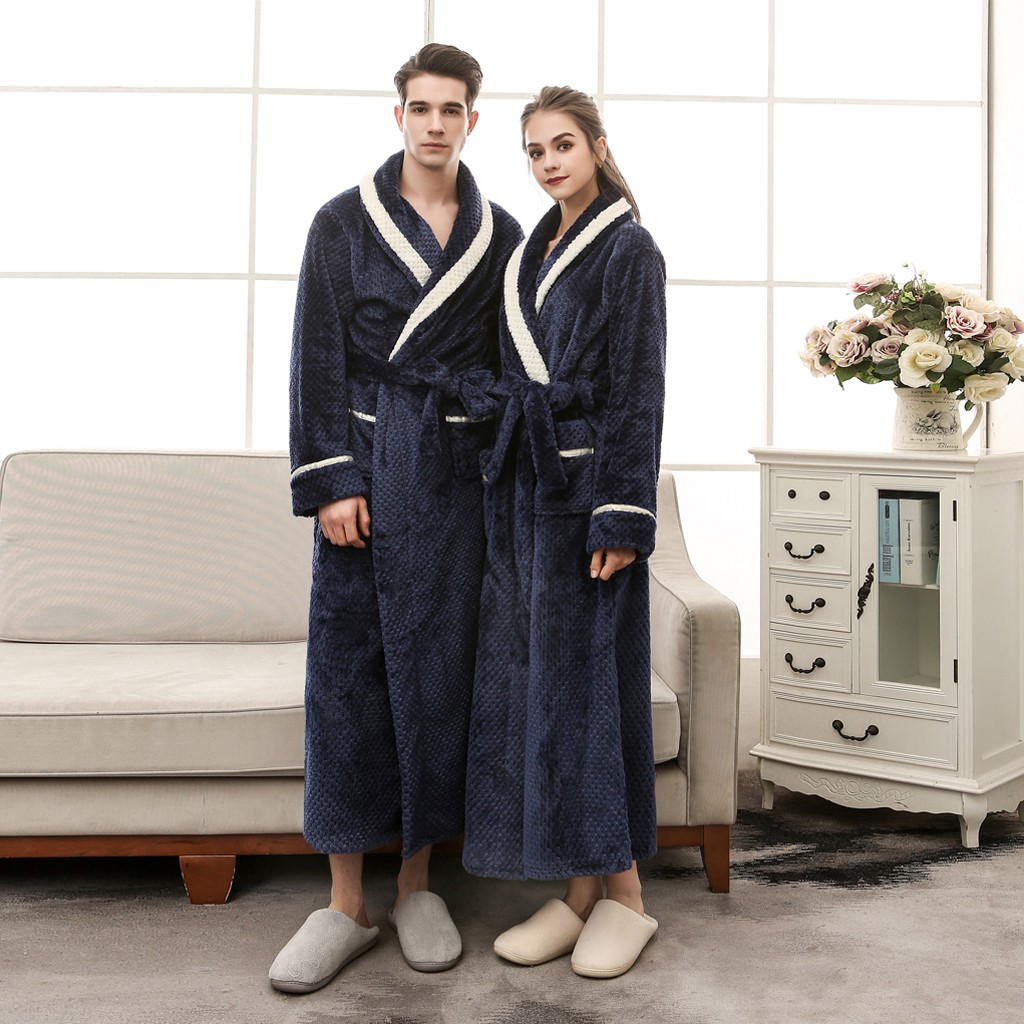 Mens/Women Winter Lengthened Bathrobe Splicing Home Clothes Long Thick Robe Patchwork Coat Stitching Bathrobe Pajamas