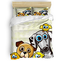Dog Animal Bird Wings Cartoon Duvet Cover Set 2/3/4pcs Bedding Set Bed Sheet Pillowcases Cover Set