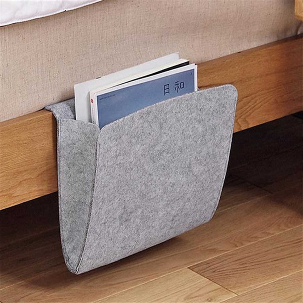Christmas Bed Organizer Felt Bed Storage Bag With 2 Small Pockets Organizing Holder Tablet Magazine Cell Phone Bedside Pocket