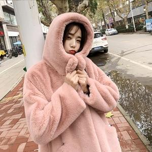 Image 5 - Female Winter New Faux Rabbit Fur Coat Thick Warm Flocking Women Luxury Long Fur Jacket Hooded Thick Warm Parka Coats