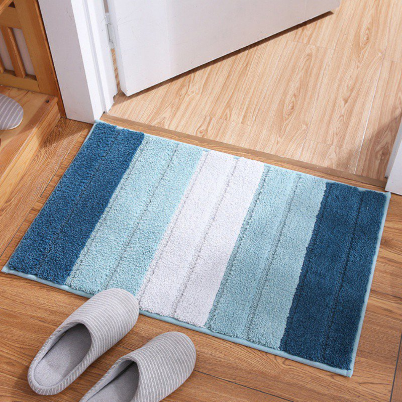 Creative Floor Carpet Bathroom Mat Concise Stripes Pattern Absorbent Doormat Anti-Slip Carpet Foot Pad Rug Carpet Area Blanket