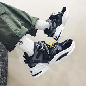 Image 3 - 2020 New Cushion Damping Men Casual Vulcanize Shoes Mesh Weaving Male Flats Shoes White Dad Sneakers Black Outdoor Walking Men