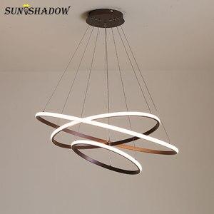 Image 4 - מנורות מודרני LED נברשת לבן & שחור & קפה מנורות Led תקרת נברשות תאורה לסלון מטבח אוכל חדר