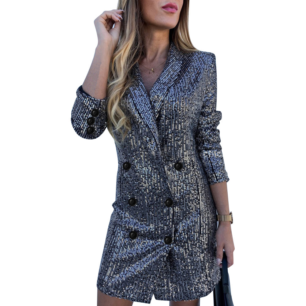 Bling Bling Sequins Blazer Coat Women Double Breasted Ladies Office Jacket Spring Solid Colour Long Blazer mujer Jackets D30