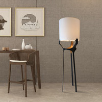 Led Floor Lamp Chinese Simple Fabric Personality Triangle Bracket Living room Exhibition Hall Club Metal Design Lighting H184