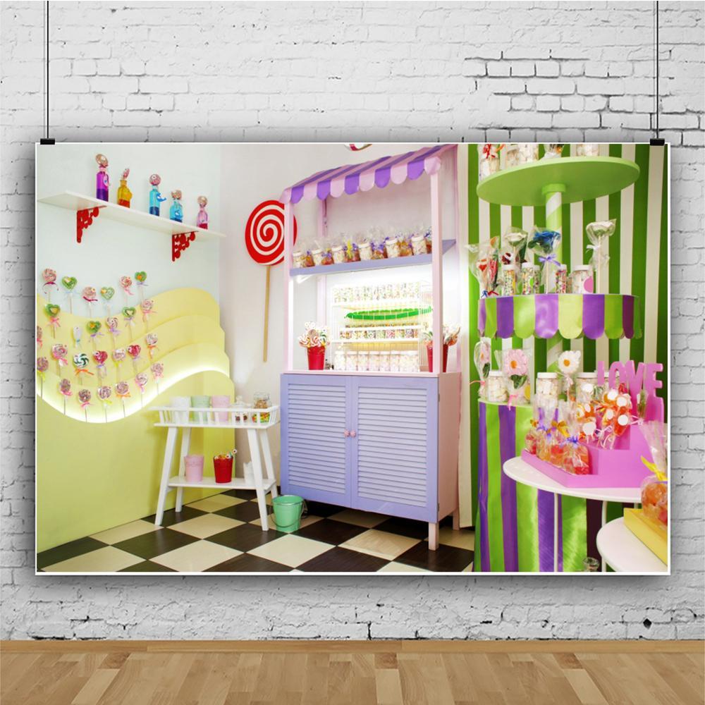 Image 3 - Laeacco wózek na lody fotografia tło ciasto cukierkowy dom dziecko dzieci portret scena fotograficzne tła Photo StudioTło   -