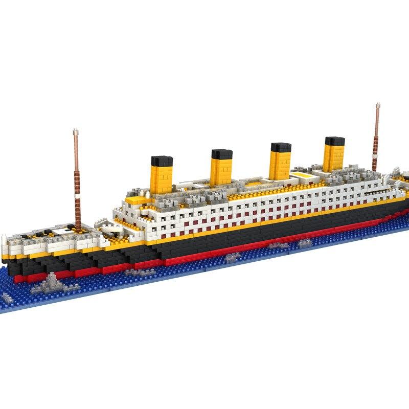 1860 Pcs Cruise Ship Model Boat DIY Building Diamond Mini Assemble Blocks Kit Children Kids Toys Birthday Gift With Legoinglys