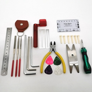 Image 3 - Gitaar Repareren Tool Kit(26Pcs) Draad Tang, String Organizer, Toets Protector,Hex Sleutels, bestanden, String Heerser Action Regel
