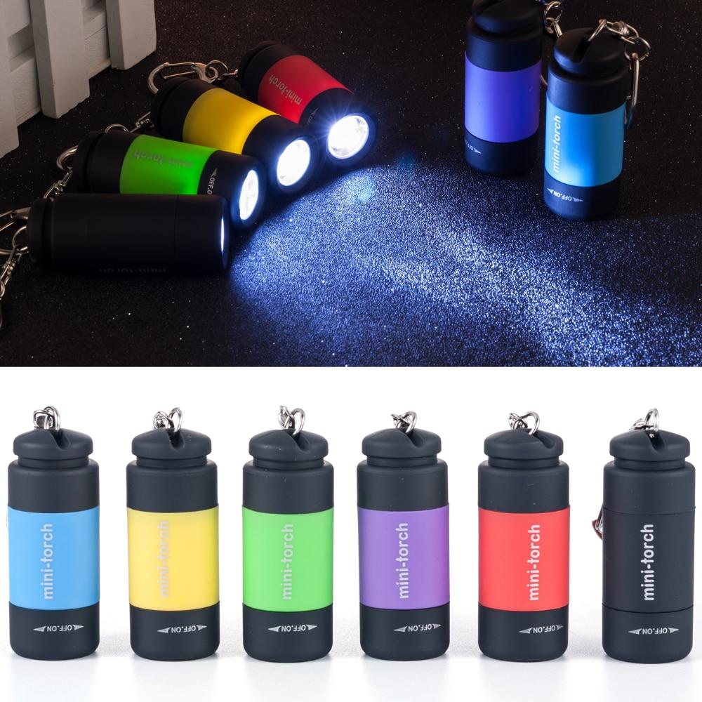 Creative Women Men Key Chains LED Light Flashlight Lamp Pocket Keychain Mini Torch Waterproof