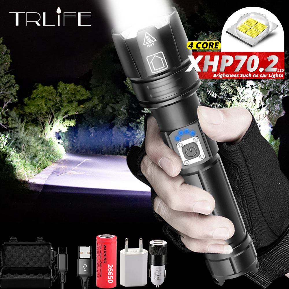 Newest Ultra Powerful XHP70.2 LED Flashlight 26650 Flashlights XLamp XHP50 USB Rechargeable Tactical Light Use 18650 Zoom Torch