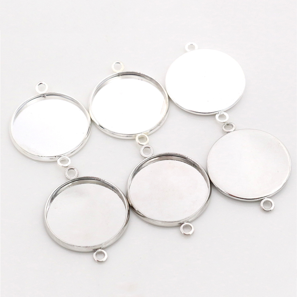 20pcs 20mm Inner Size Stainless Iron Material Bright Silver Plated/Rhodium Simple Style Cabochon Base Cameo Setting Pendant Tray