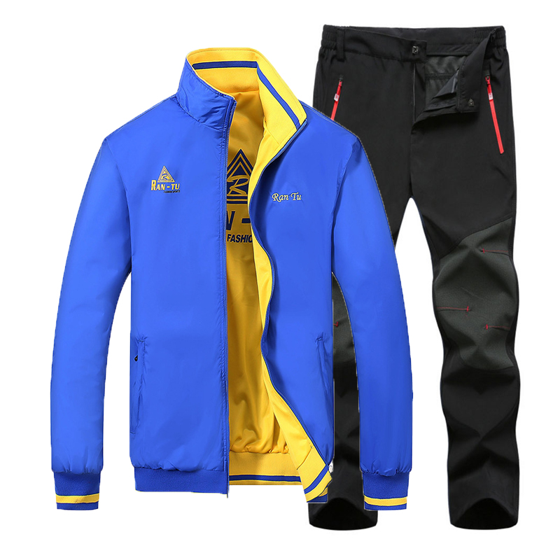 2019 Men Spring Autumn New Double-sided Wear Jacket Suit Male Fish Climb Trek Hike Camp Run Cycle Oversized Pant Trousers Coat
