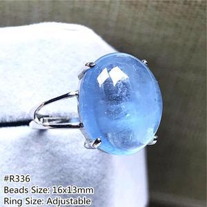 Image 5 - Véritable naturel océan bleu aigue marine bague bijoux pour femme homme cristal clair ovale perles argent pierre gemme réglable anneau AAAAA