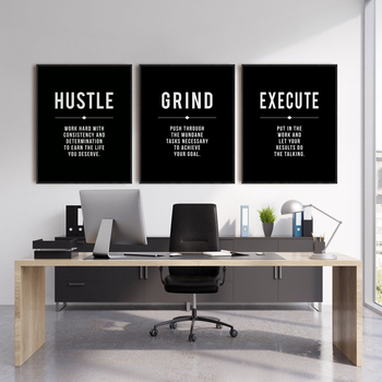 Grind Hustle Execute Quote Wall Art Canvas Prints Office Decor Motivational Modern Art Entrepreneur Motivation Painting Pictures image