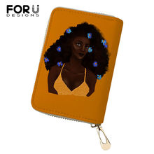 FORUDESIGNS African Girls Printing Pattern Money Purses Bags Women Fashion Lady Cluth Card Wallets PU Business Holder