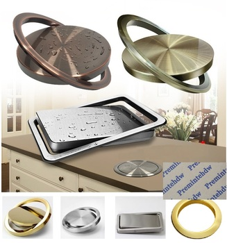 Stainless Steel Countertop Flush Built-in Flip-top Swing Cover Lid Trash Garbage Chute Kitchen Bath Top Grommet Bronze Red Gold