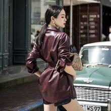 Красная куртка средней длины из искусственной кожи размера плюс женская осенняя Весенняя приталенная куртка большого размера женская черная короткая куртка из искусственной кожи