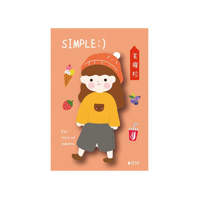 Menina série mundial notas pegajosas bloco de notas diário fixo flocos scrapbook decorativo kawaii coelho urso frango n vezes pegajoso