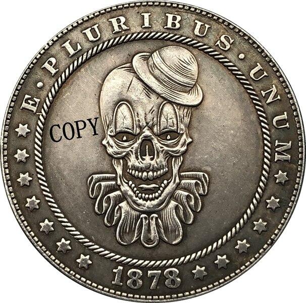 Hobo никелевая монета 1878-CC США Morgan Dollar, копия типа 179