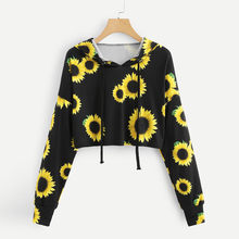 Hoodies Cropped Sweatshirt Womens Long Sleeve Sunflower Printing Hooded Blouse Tops Korean Style Harajuku All-match Chic #N(China)