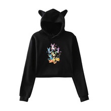 Pokemon Autumn Lovely Hooded Pullovers Teenager Girls Funny Streetwear Sweatshirts Spring Kawaii Long Sleeve Short Hoodies(China)