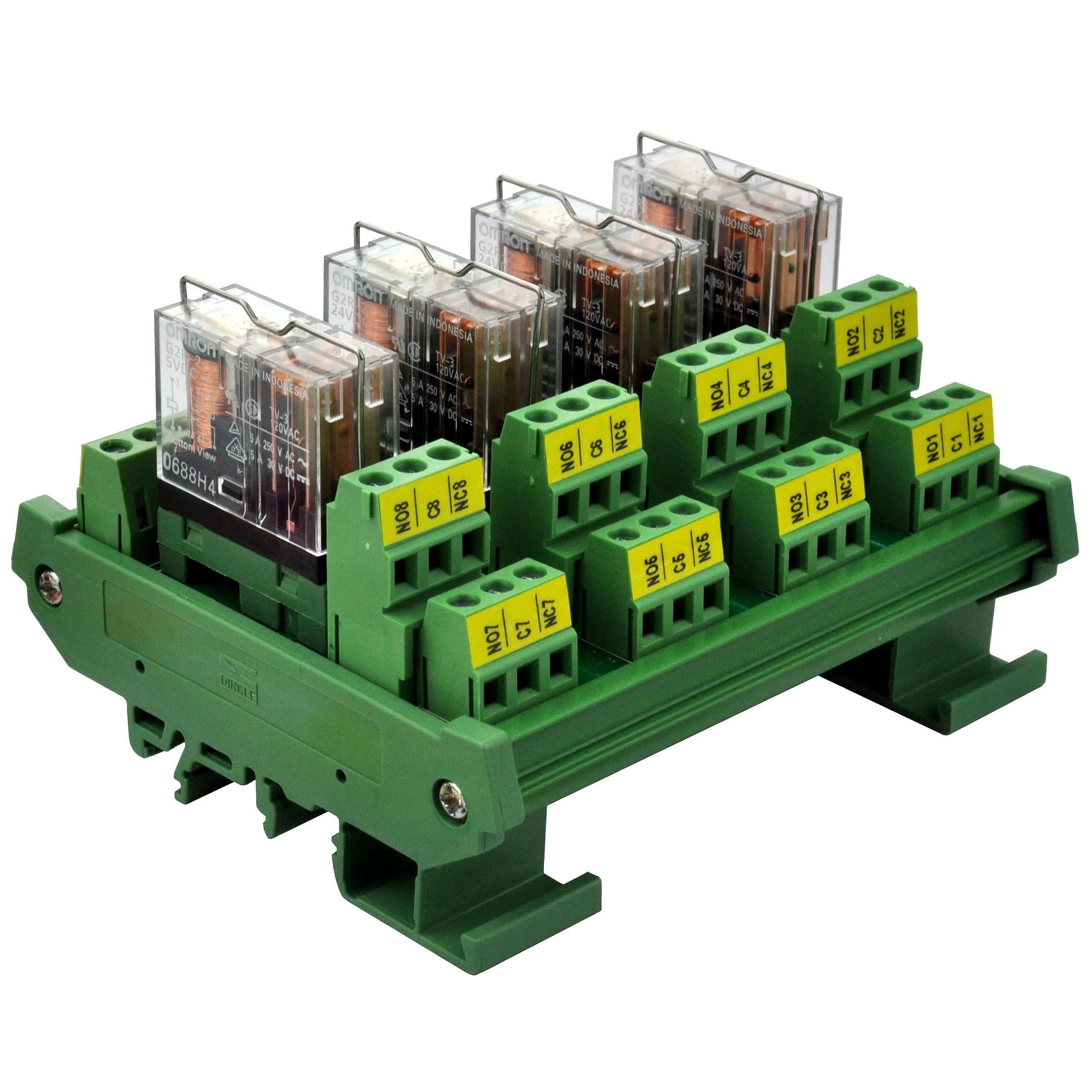 ELECTRONICS-SALON DIN Rail Mount AC/DC 5V Control 4 DPDT 5Amp Pluggable Power Relay Interface Module.